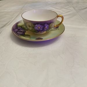 Antique MZ Austria Hand Painted Floral Teacup